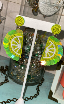 Lime Beaded Earrings