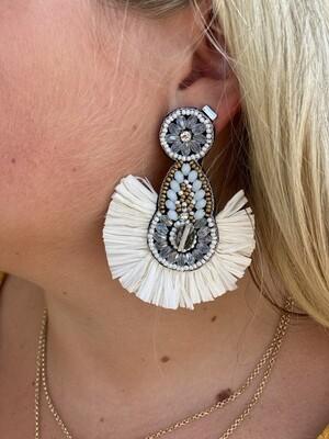White Raffia Embellished Earrings
