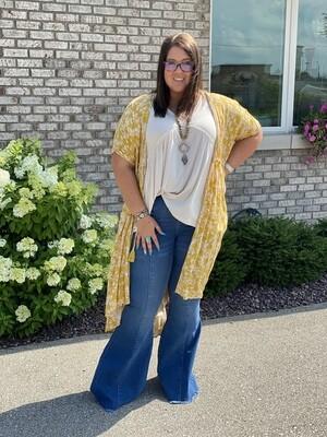 Yellow Floral Kimono With Waist Tie