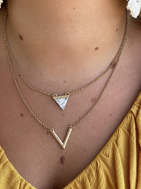 White Triangle Stone Layered Necklace