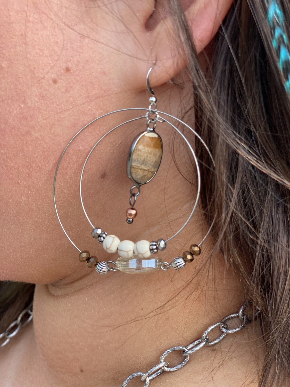 Mixed White & Bronze Beaded Earrings