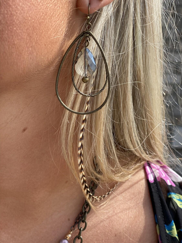 Brass Teardrop & Crystal Earrings