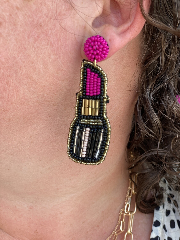 Hot Pink Lip Stick Earrings