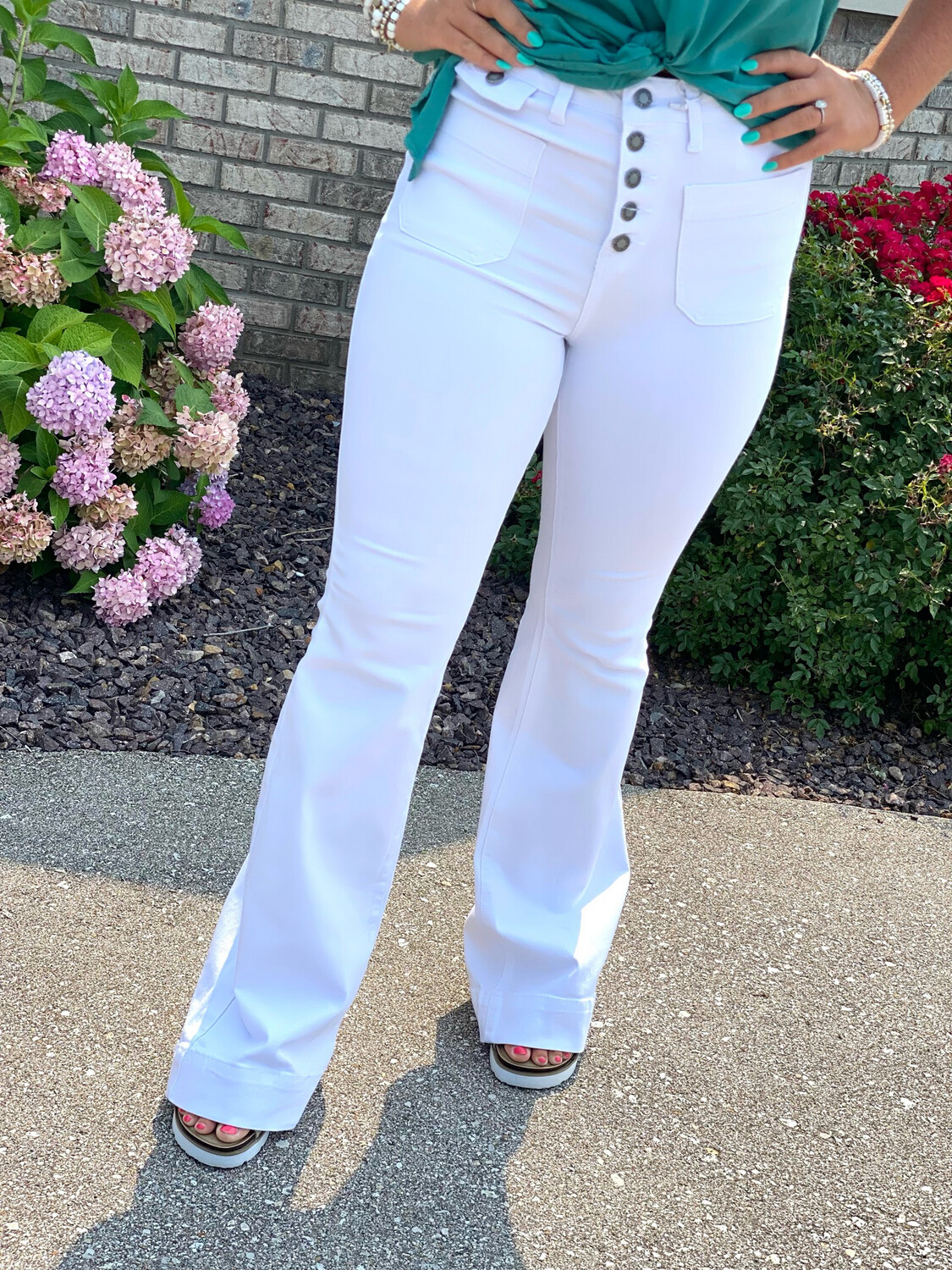 Judy Blue White High Rise Button Fly Flares