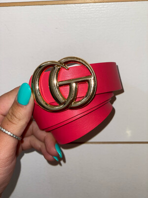 Hot Pink Shiny Gold Belt