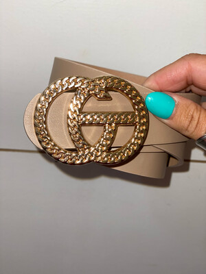 Taupe Chain Link Gold Belt