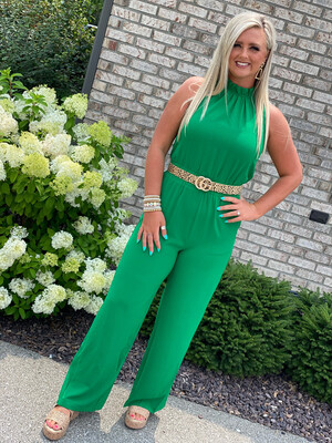 Kelly Green Mock Neck Jumpsuit