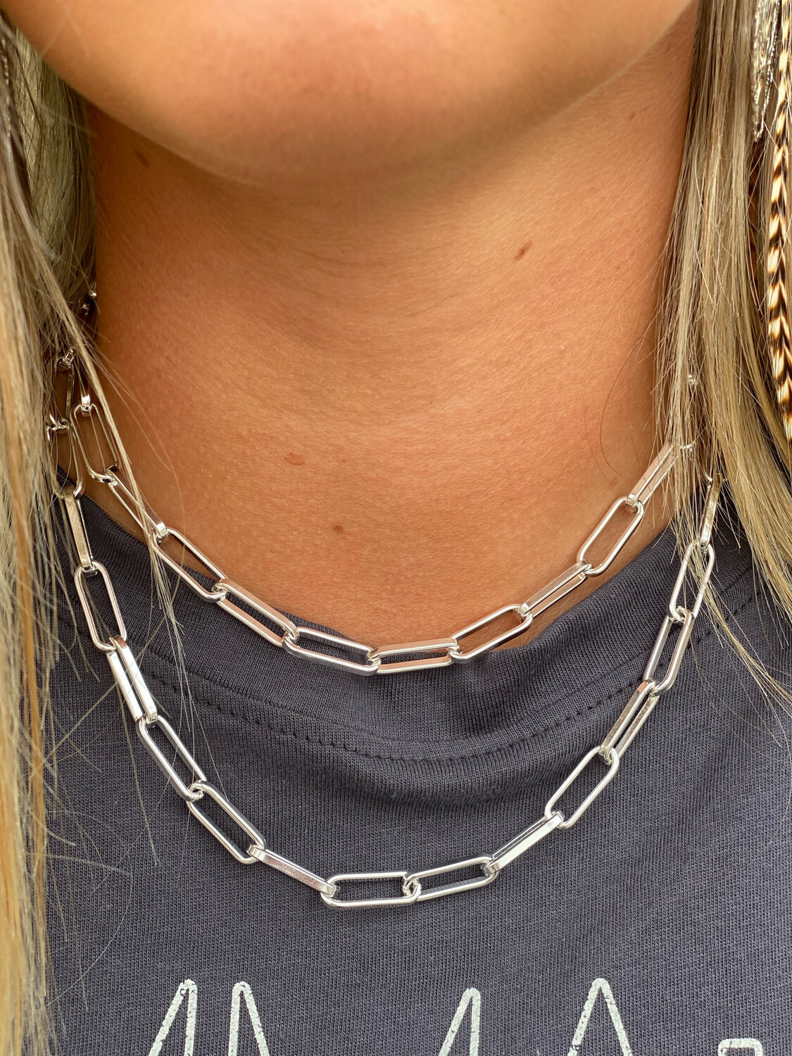 """34"""" Silver Chain Necklace"""