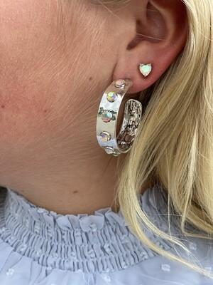 Silver Jewel Hoops