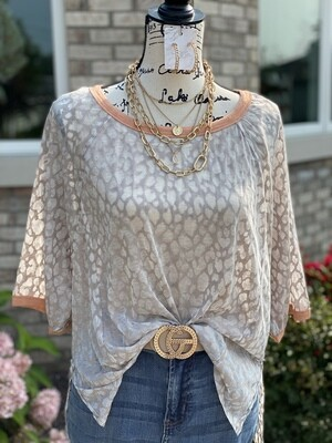 Taupe Leopard Burn Out Top w/ Apricot Trim