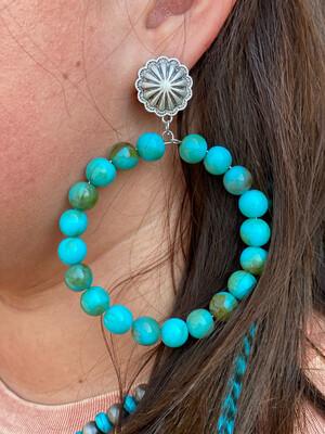 Turquoise Beaded Hoop Post Earrings