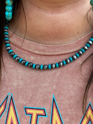 Navajo & Turquoise Mixed Beaded Necklace