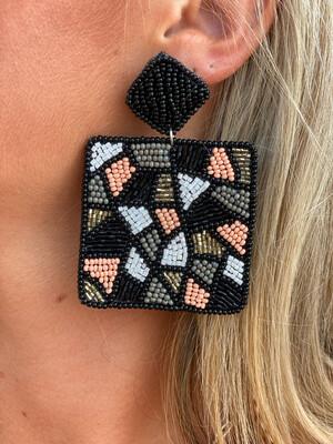 Black Geometric Beaded Earrings