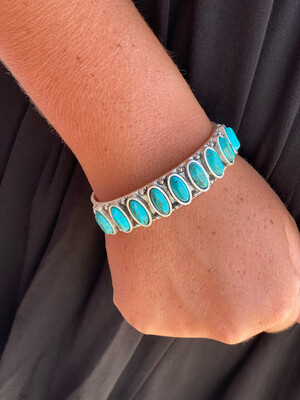Turquoise Oval Stone Cuff