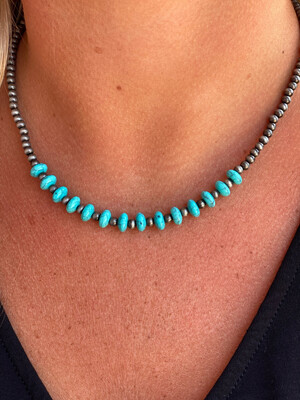 4mm Navajo & Flat Turquoise Necklace