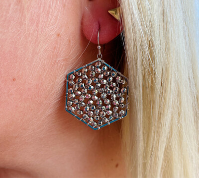 Silver Beaded Cluster Earrings