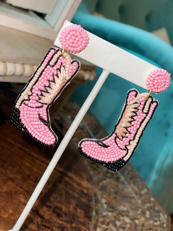 Light Pink Boot Earrings