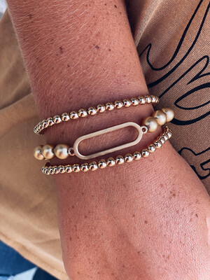 Gold Open Oval Bracelet Set