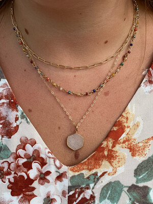 Gold Multi Beaded Layered Necklace