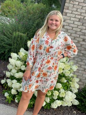 Cream Floral Dolman Sleeve Dress