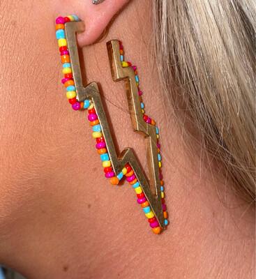 Rainbow Beaded Bolt Earrings