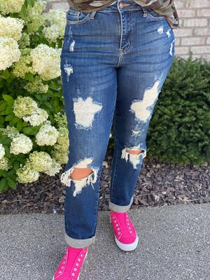 Judy Blue Dark Hi-Waist Boyfriend Destroyed Jeans