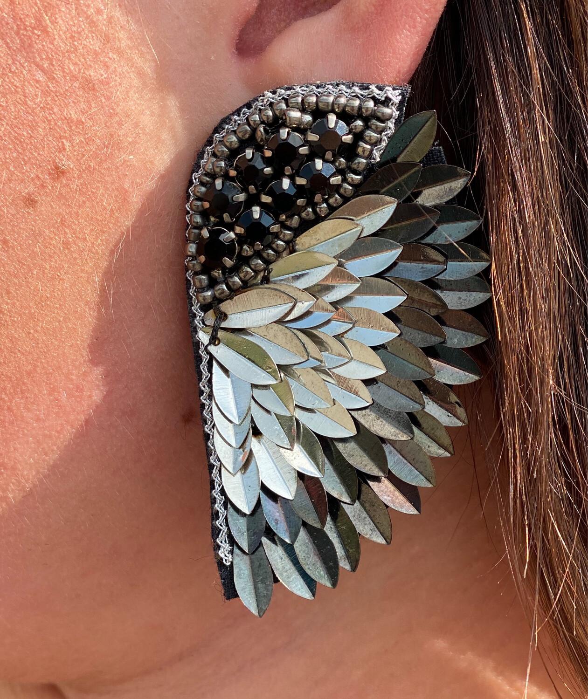 Silver Statement Wing Earrings