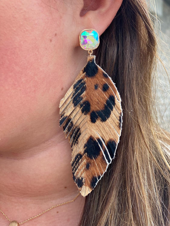 Cheetah Jewel Post Earrings