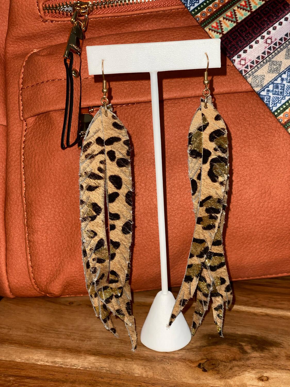 Leather Long Cheetah Earrings