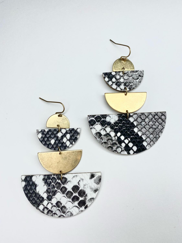 Tiered Half Moon Snake Earrings