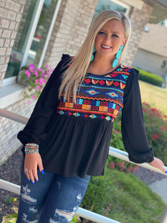 Savanna Jane Black Multi Embroidered Blouse