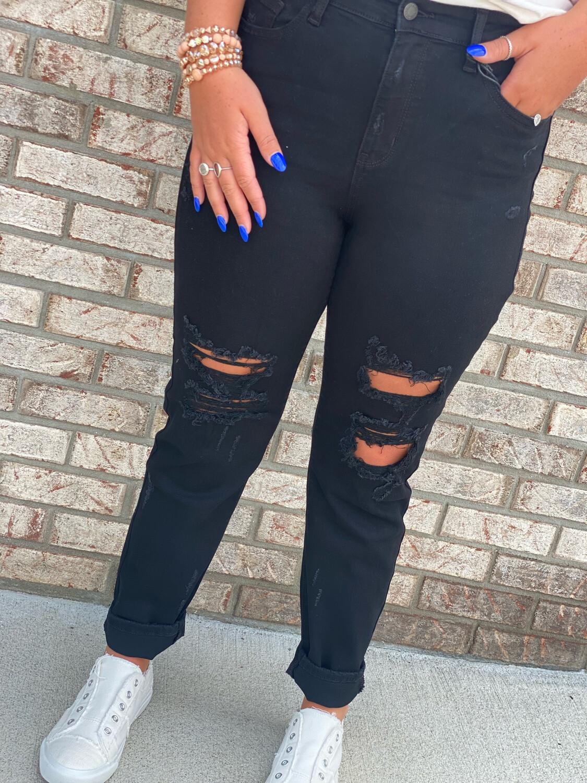 Judy Blue Black Hi-Rise Distressed Boyfriend Jeans