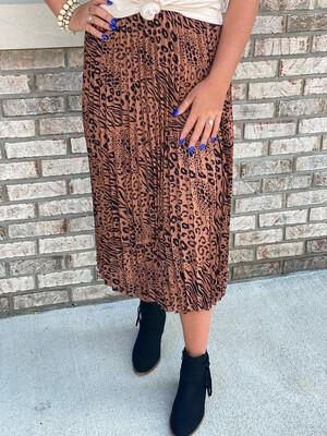 Mocha Mixed Animal Print Skirt