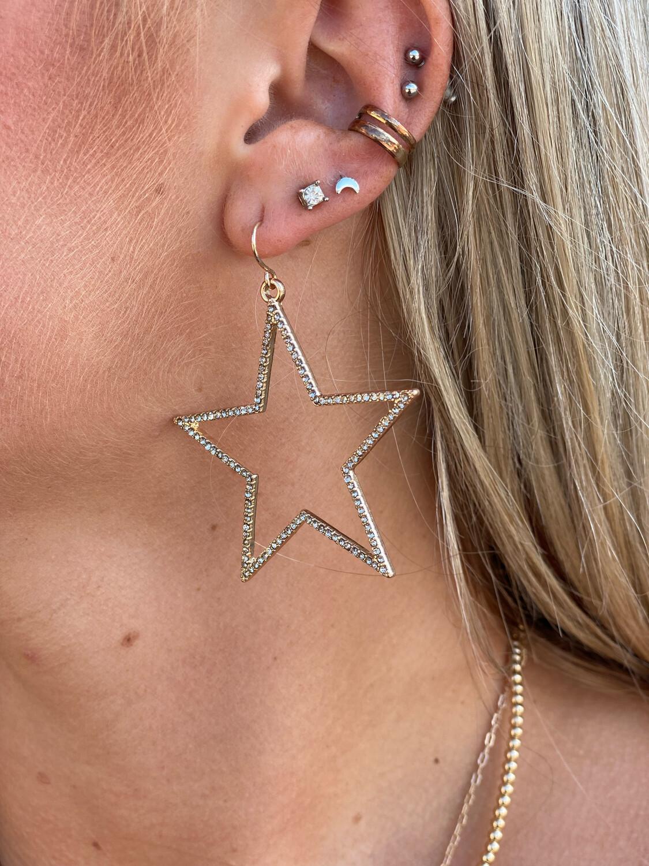 Gold Rhinestone Star Earrings