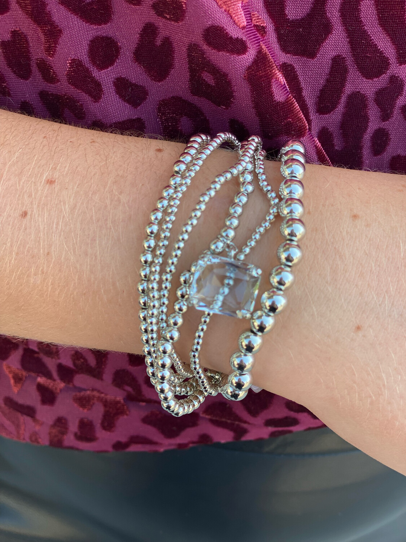 Silver Set of 6 Crystal Charm Bracelets