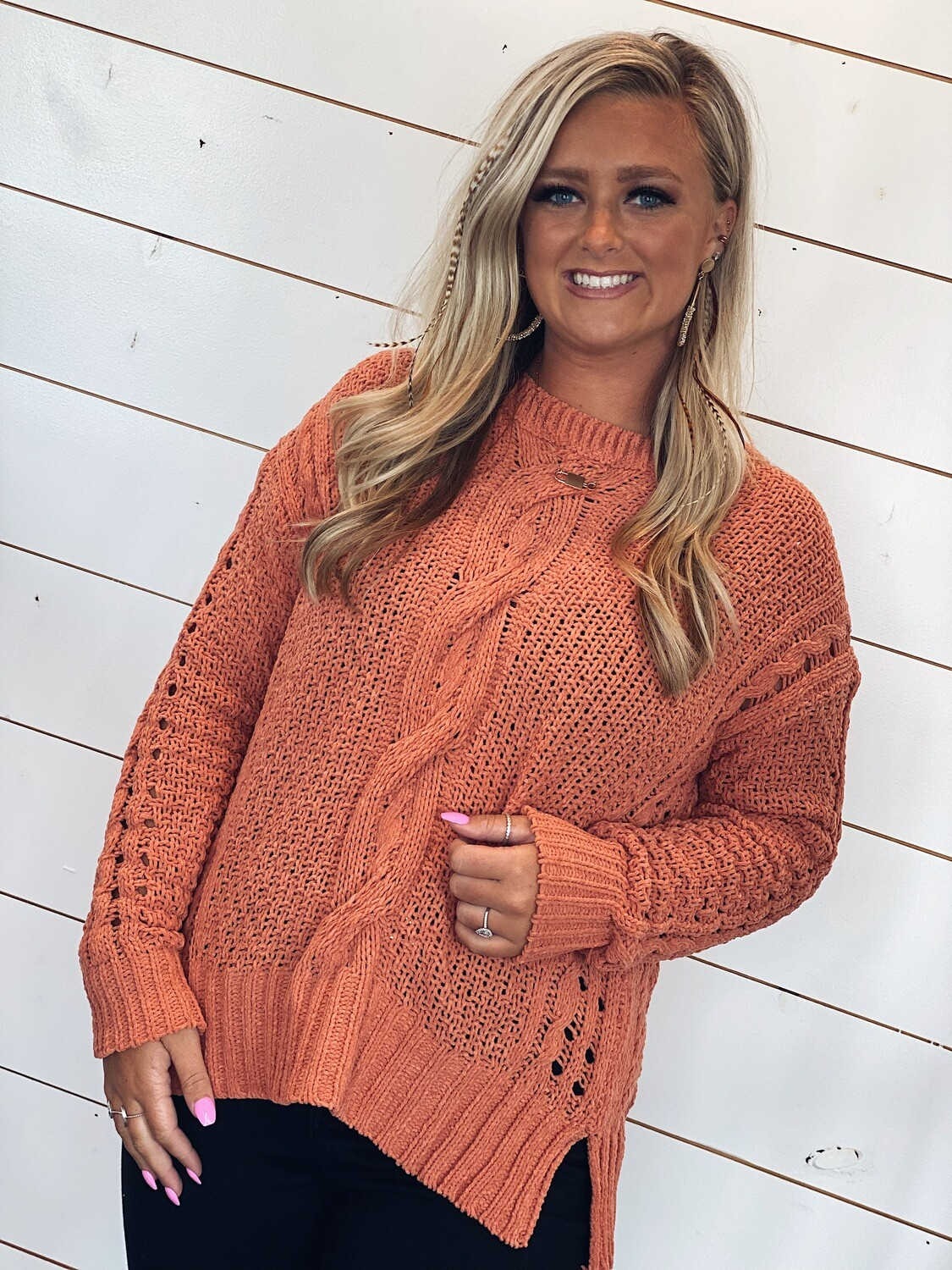 Brick Cable Knit Pullover Sweater