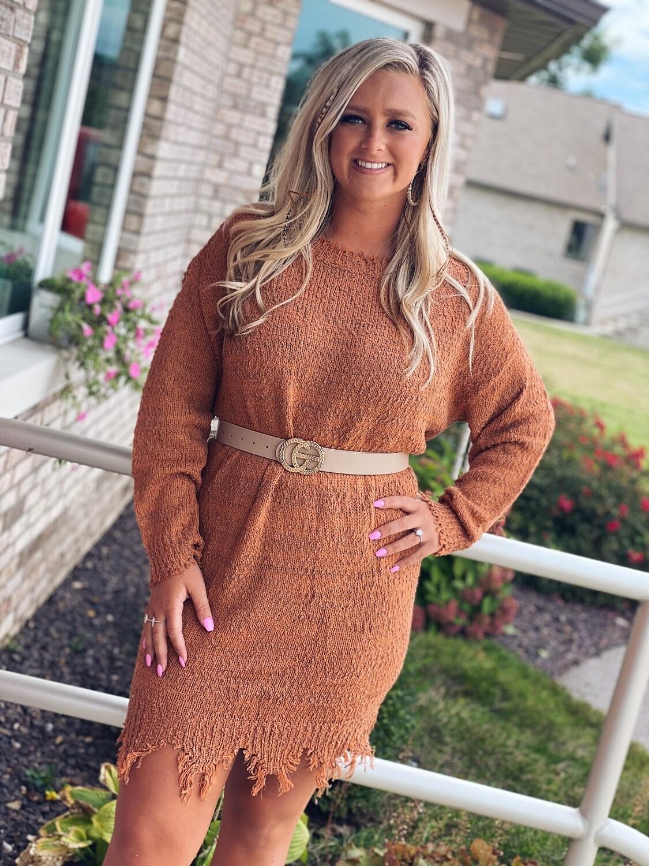 Rust Distressed Hem Sweater Dress