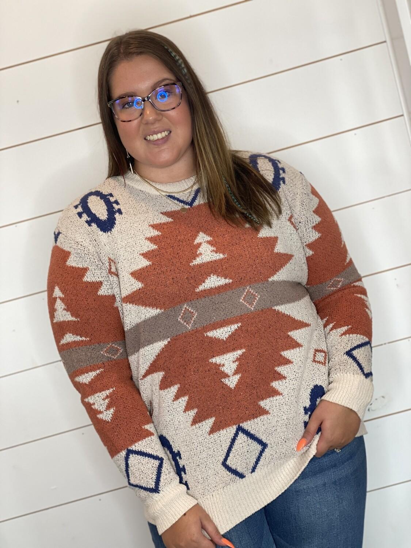 Rust Aztec Sweater