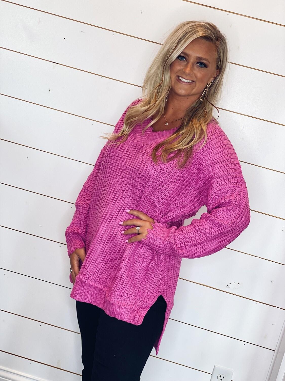 Raspberry V Neck Sweater/Dress