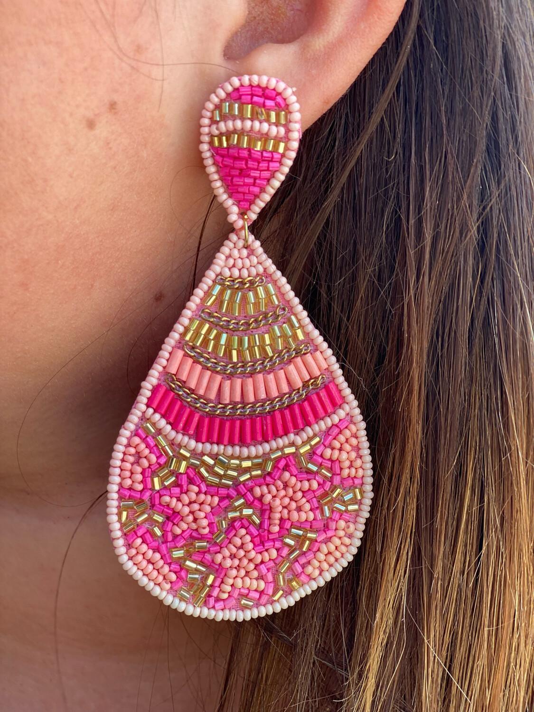 Pink Mixed Bead Dangle Earrings