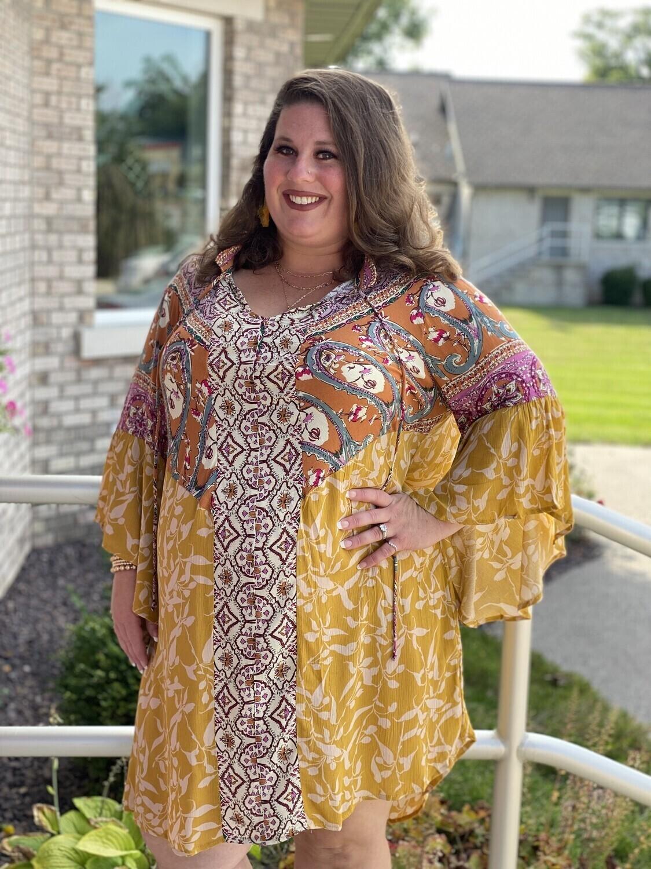 Golden Mixed Print Bell Sleeve Dress