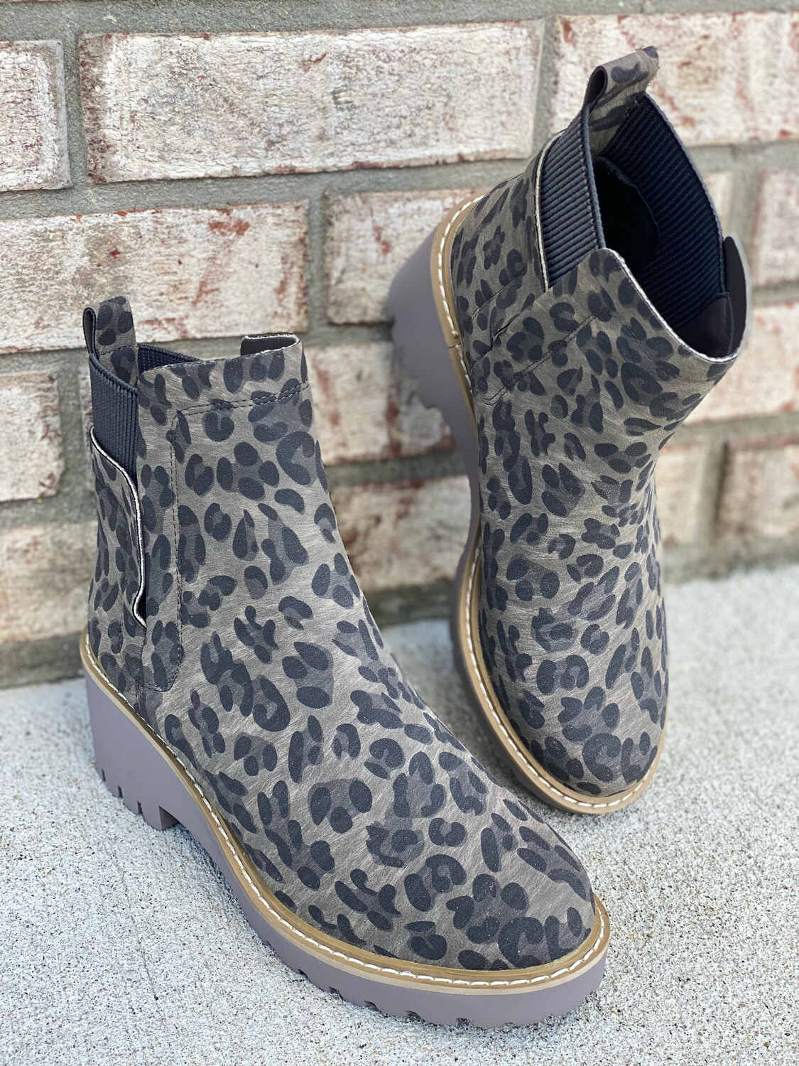 Corky's Grey Leopard Chunky Booties
