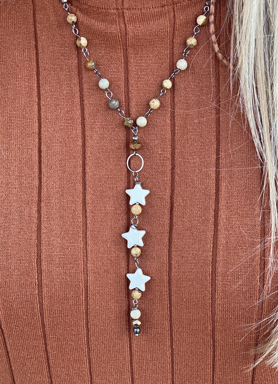Jasper Beaded Mini Star Necklace