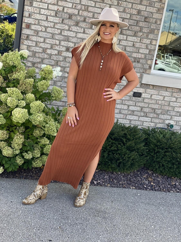 Clay Ribbed Long Sweater Dress