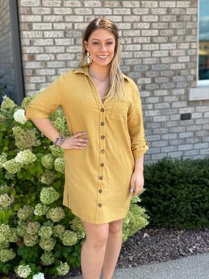 Mustard Button Down Long Sleeve Dress