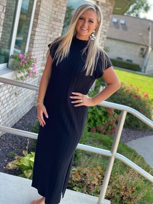 Black Ribbed Long Sweater Dress