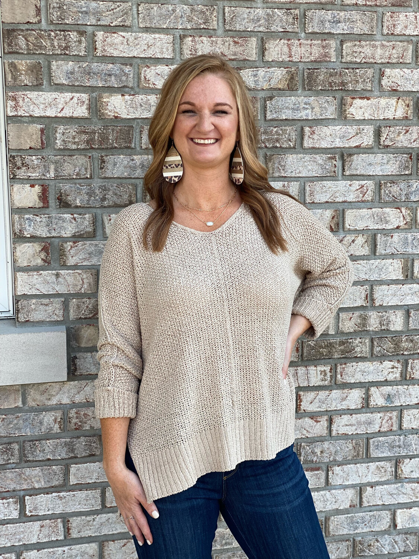 Oatmeal Knit Cuffed Sweater