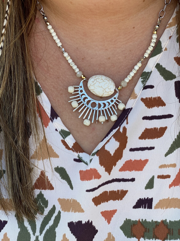 Howlite Moonstone Necklace