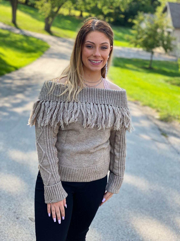 Taupe Fringe Detail Sweater