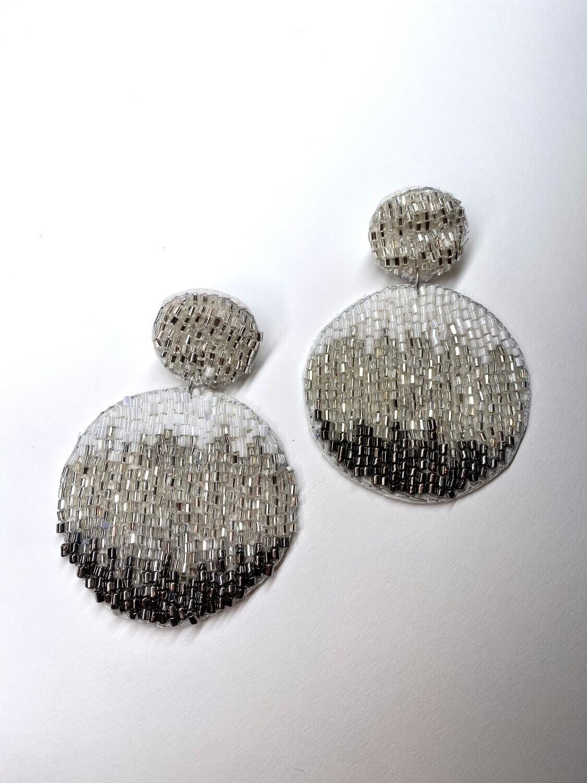 Silver Tones Circle Beaded Earrings